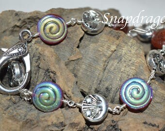 Celestial glass bead bracelet with sun and moon beads