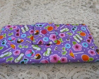 Handmade Fabric Bi-Fold Wallet, Card Slots, Zipper Compartment, Snap Closure, Summer Fun Fabric