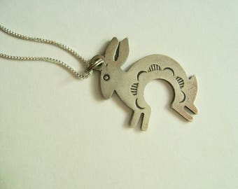 vintage southwestern sterling rabbit pendant necklace
