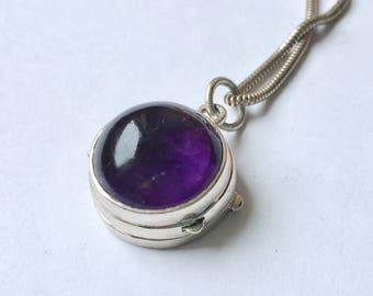 vintage sterling and amethyst locket/poison pendant