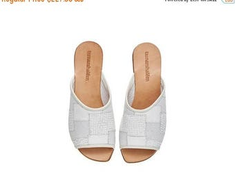 ON SALE White leather sandals, Helena, handmade flat sandals