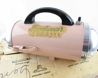 Pink 'Goodyear Vac-ette' - Working Hand-held Sweeper - 1950s In Original Box - Working Attachments, Paperwork Instructions -  Mfd. New York