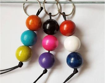 Key fob 3 wood beads and Rainbow sky or colors to choose from