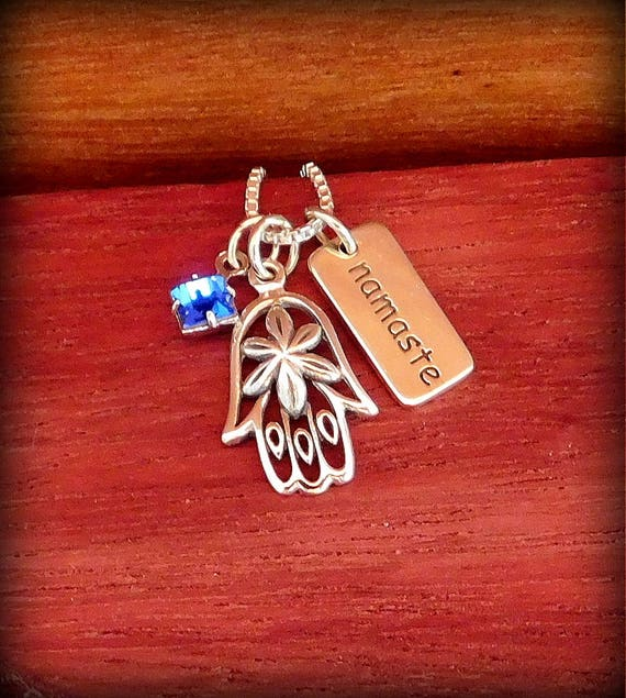 Hamsa hand necklace, sterling silver necklace, birthstone necklace, Yoga or meditation jewelry, Namaste