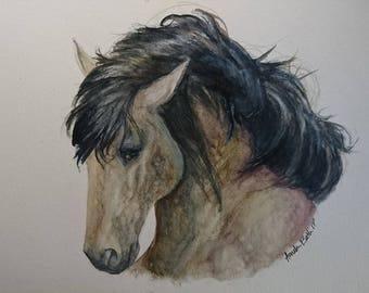 Dappled Mustang in hard watercolors