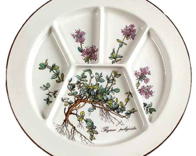 "Vintage Villeroy & Boch Botanica Fondue Sushi Plate 9 3/4"", Vitreous Porcelain, Thymus, Luxembourg, Germany, Vintage Dish"