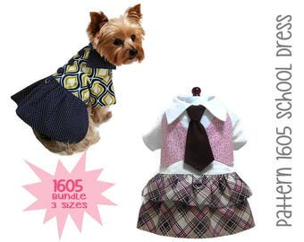 Back to School Dog Dress Sewing Pattern 1605 * Bundle 3 Sizes * Dog Clothes Sewing Pattern * Small Dog Dress Pattern * Dog Harness Pattern