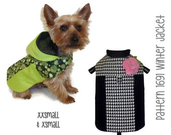 Winter Dog Jacket Pattern 1691 * XXSmall & XSmall * Dog Clothes Sewing Pattern * Dog Coat Pattern * Dog Apparel * Designer Dog Clothes