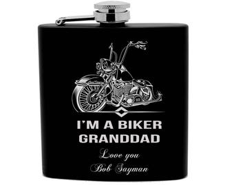Personalized Flask 6oz Black Stainless Steel Laser Secret BIKER Granddad FLX0015