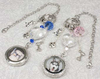 Dog Lover / Pet Photo Memorial Rear View Mirror Charm / Pet Loss Gift / Car Accessories / Dog Locket / Sun Catcher