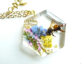 Keeper of the Bees Necklace, Beekeeper Jewelry, Honeybee Jewelry, Bee Necklace, Real Flower, Cruelty Free, Fairy Festival, Gift for Gardener