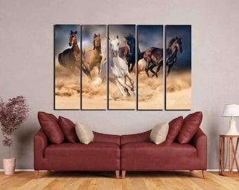 Horse,Running Horses,Running Horses Dusty,Living Room Art,Horses Wall Art,Horses Art Print,Horses Canvas,Decorative Art Print,Wall Art Decor
