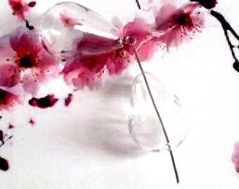10 transparent drops 25x17mm, blown glass beads