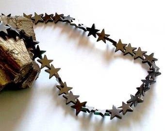 set of 10 beads 10mm (thin) non magnetic hematite stars