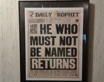 Harry Potter Digital Download Daily Prophet Newspaper Special Edition Front Page Headline Voldemort Returns He Who Shall Not Be Named Return