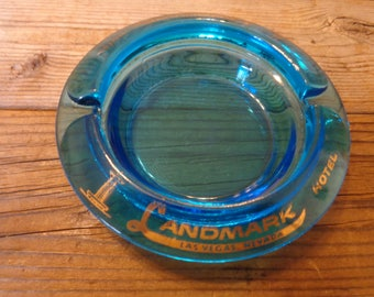 "Vintage ""Landmark Hotel, Las Vegas"" Souvenir Glass Ashtray, 1960's - Las Vegas Ashtrays - Vintage Souvenir Ashtrays - Las Vegas Memorabilia"