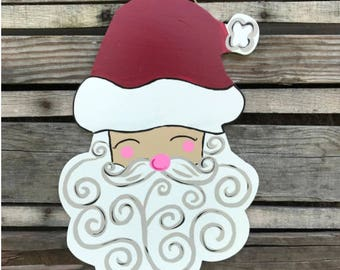 Finished Christmas Santa Head, Door Hanger, Painted, Home Decor