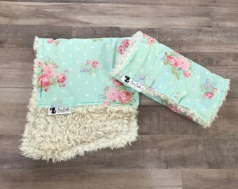 GIRLS BURP CLOTHS • Two Baby Girl's Burp Cloths • Burp Cloths • Burp Rags • Faux Fur • Baby Shower Gift • Shabby Chic • Floral • BizyBelle