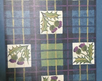 Beautiful SCOTTISH THISTLE PLACEMATS - Castle Melamine - Set of 6 in Original Case with Handle - Plaid /Thistle Design - Made in Scotland