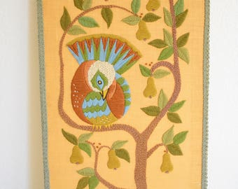 Vintage Partridge in a Pear Tree Hand Crafted Needlepoint 1960s Acocado Green Funky Boho Chic Large 30 inches