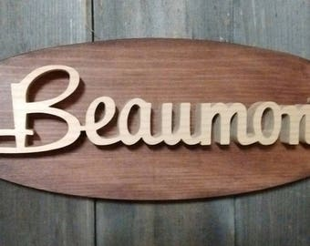 1965 Pontiac Beaumont Emblem Oval Wall Plaque-Unique scroll saw automotive art created from wood for your garage, shop or man cave.