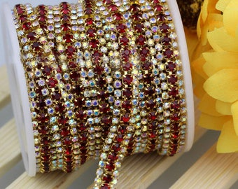3 Row Gold Tone Red and AB Clear Rhinestones Trim - Crystal Chain - Wedding Cake Deco - 2mm & 3mm Rhinestone  1 yard