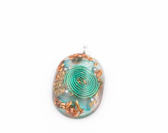 Aura Clearing Metal Resin green coil Pendant for Energy Cleansing Necklace Large Oval
