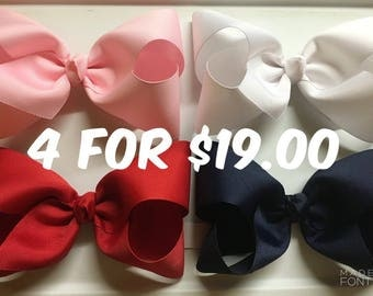 "Pick 4 XXL boutique style hair bows (7""-8"") U Pick colors/list them in ""note to seller"" at checkout."