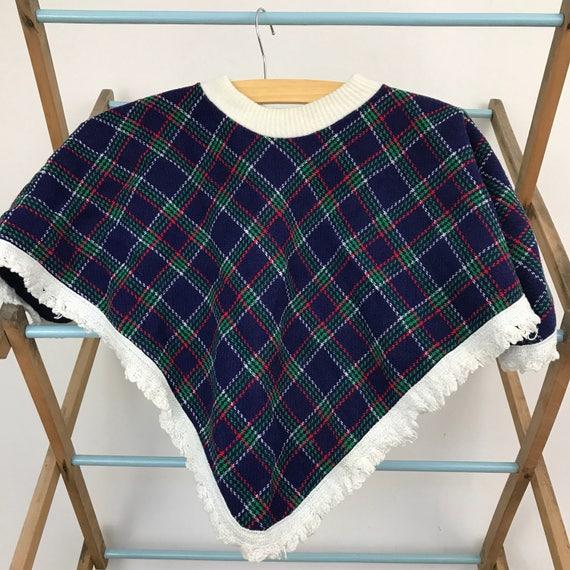 Childrens vintage tartan cape age 2 blue plaid fringed poncho kids retro childs cape