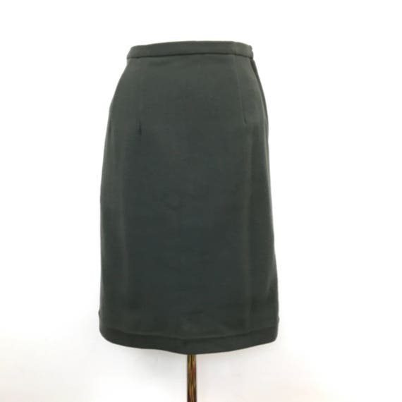 vintage wool pencil skirt 1940s 1950s style green wool high waisted UK 14 Wetherall Mad Men secretary Home Front style 60s