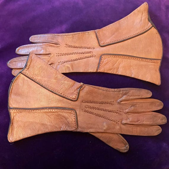 1920s gloves brown leather gloves tan brown 1930s gauntlet small 5 6 Art Deco 20s 30s winter gloves