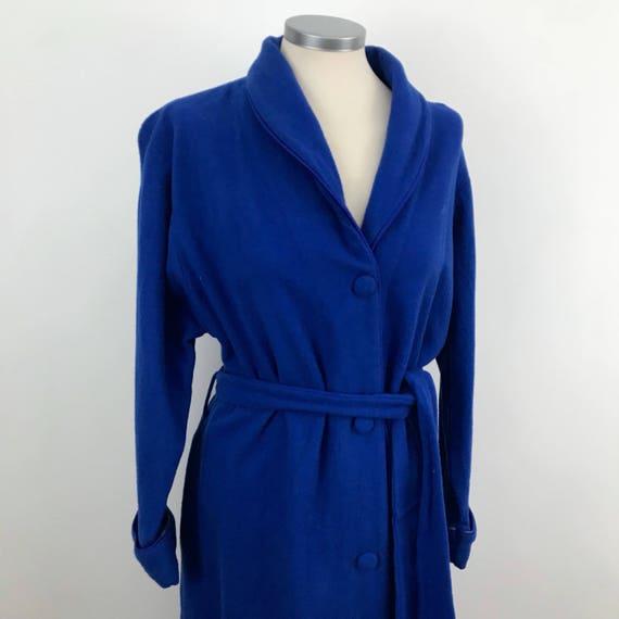 Vintage robe wool dressing gown royal blue winter 50s 60s UK 8 10 long budoir bedroom St Michael