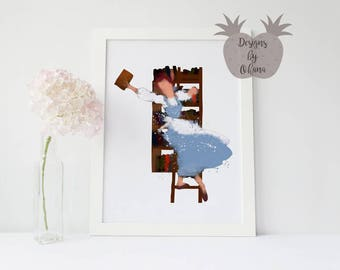 Belle and Her Books | Beauty and the Beast | Disney Art Print | Disney Princess Art | Princess Nursery Decor | Belle Print Download