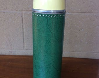"""Retro Metal Thermos Brand Green Thermos with Faux Stitching Design, 13.5"""""""