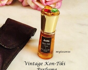 ViNTAGE KON-TIKI RhiNESTONE ToP UnOPENED PERFUME BoTTLE with CaSE, Womens coLLeCTIBLES, PuRSE SiZE 1 DrAM PeRfume ScENT BoTTLE CuRTIS LaBS