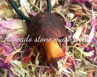 Carved mushroom necklace - avocado stone