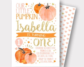 Our Little Pumpkin Birthday Invitation | Pumpkin Birthday Invitation| Pink and Gold Invitation | Fall Birthday Invitation | First Birthday