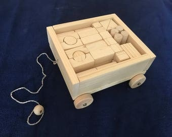 Building blocks car with pull cord