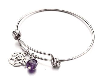316L Stainless Steel Adjustable Bangle With Charms and Amethyst Bead | Adjustable Bangle | Bracelet | Stainless Steel Bangle