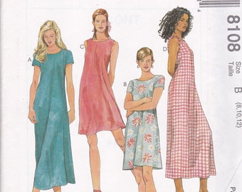 McCalls 8108 Vintage Pattern Womens  Pull Over Dress in 4 Variations Size 8,10,12 UNCUT