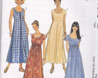 McCalls 9375 Vintage Pattern Womens  Pull Over Dress with Empire Waist in 4 Variations Size 10,12,14 UNCUT