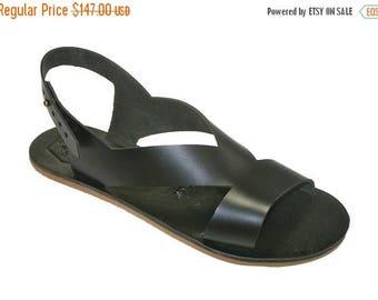 15% OFF Black Leather Sandals for Women & Men - Design 41 - Handmade by WalkaholicS
