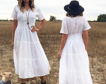 JULY FLASH SALE Vintage 1970's Boho Indian Gauze Cotton Embroidered Sundress Bohemian Gypsy Dress || Size Medium