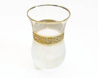 Small Glass Vase, Violet Vase, Frosted Glass, Gold Band Trim, Scrolls, Vanity Collectible, Gift, Collectible, White and Gold