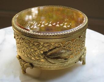 Ormolu Jewelry Casket, Gold Filigree Jewel Box, Hollywood Regency, Tufted Velvet Liner, Beveled Glass Lid, Large Trinket Box, Ornate Vanity