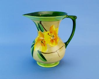 Green Floral Water Jug Myott Art Deco English Vintage 1930s