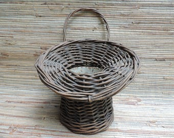 Vintage Willow Flower With Metal Insert Wood Base