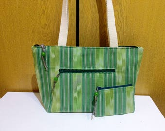 """Shoulder Bag with Matching Coin Purse, Upcycled Fabric Tote, Green Thai Cotton, Handmade Bag, Shopping Bag, Size W14""""xH8""""xD4""""""""  Gift Idea!"""