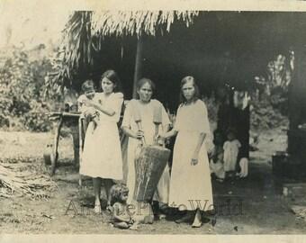 Panama native women children cooking by hut antique photo