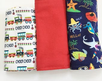 Choo Choo Train Burp Cloths, Red Burp Cloths, Sea Animal Burp Cloths, Burp Cloth Sets, Infant's Burp Cloths, Absorbent Burp Cloths